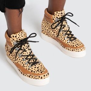 Dolce Vita Weber Leopard Calf Hair Wedge Sneaker